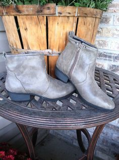 Distressed Taupe ankle Boots