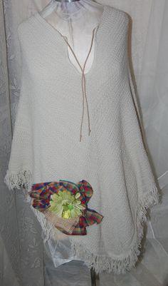 Ivory embellished Boho Gyspy Shawl by Ramblinrose67 on Etsy, $35.00