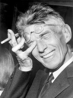 Samuel Beckett -nd  a Good Night - Good Day post… it is too rare to see him laughing  via 1auteur