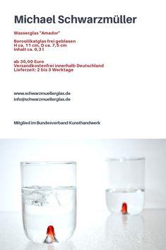 www.schwarzmuellerglas.de Studio, Glass, Handmade, Water Glass, Arts And Crafts, Hand Made, Drinkware, Corning Glass, Studios