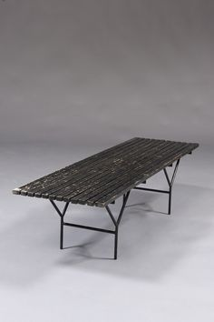 Harry Bertoia; Lacquered Wood and Enameled Metal Bench, c1960.