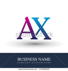 initial letter logo AX colored red and blue, Vector logo design template elements for your business or company identity