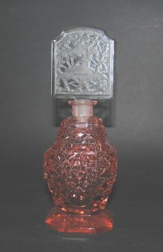 Antique Bohemian Czech Cut Intaglio Frosted Colored Glass Perfume Scent Bottle | eBay