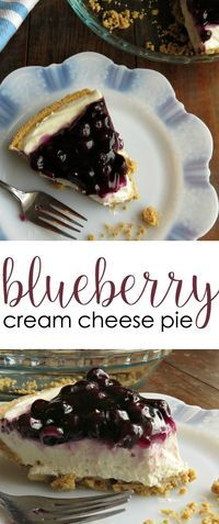 Looking for cream cheese desserts? This Blueberry Cream Cheese Pie recipe is super easy and requires no baking. It's rich and creamy with just the slightest hint of tartness in the center. And with the blueberries, it's a nice balance between fruity tartn