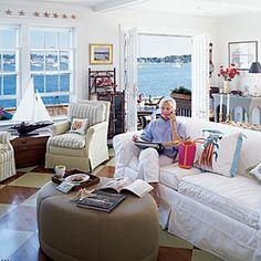 10 Beautiful Beach Cottages | Watery-Blue Living Room | CoastalLiving.com
