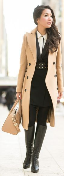 Fall/ winter outfit ideas. Camel pea coat. Black dress/ tights/ tall boots. Winter interpretation of a boyish and stylish Look by Wendy's Lookbook