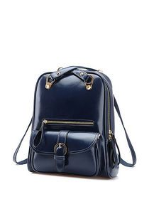 Leather Buckle Zipper Closure Strap Fashion Backpack img