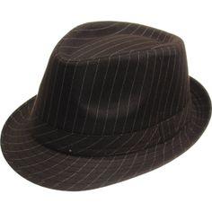 2aaa7f074ee Gangster Pinstripe Fedora Hat Brown 1319