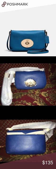 New COACH Blue Liv Pouch Crossbody, Pebble Leather HI! This listing is for an AUTHENTIC, New! COACHBlue Liv Pouch Crossbody In Pebble Leather!! I have a number of purses from my Coach collection that I havenever got touse and I finally made up my mind to sell them! This particular purse is a very prettyblue pebble leatherand It has the Coach logo on the front, hardware is gold,one strap, the inside has the main section with insideslots, pocket in front as you open the flap and it…