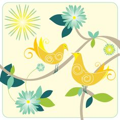 Freelance Graphic Design, Lemon Yellow, Happy Easter, Spring Time, Twitter Sign Up, Sunshine, Birds, Colour, Illustration