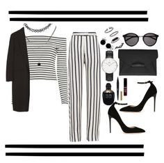 """""""Double The Stripe Trouble"""" by tiarheanne ❤ liked on Polyvore featuring Nicholas, 10 Crosby Derek Lam, Jimmy Choo, Forever 21, Alexander Wang, Givenchy, Yves Saint Laurent, Daniel Wellington, Topshop and Bling Jewelry"""