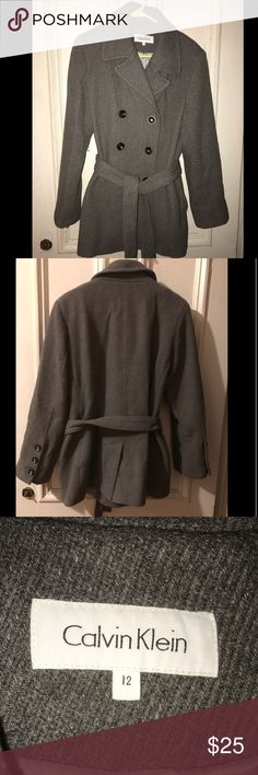 Calvin Klein Gray Wool Blend Jacket Size 12 Calvin Klein Gray Wool Blend Jacket Size 12.  Jacket is in excellent condition - single owner - smoke and pet free home.  Please review photos and ask questions prior to purchase. Calvin Klein Jackets & Coats Trench Coats