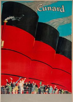 An poster sized print, approx (other products available) - Poster advertising Cunard departures from Cherbourg and Le Havre to the USA and Canada. - Image supplied by Mary Evans Prints Online - Poster printed in the USA Retro Poster, Poster Ads, Vintage Advertisements, Vintage Ads, Tarzan, Vintage Travel Posters, Poster Size Prints, Print Poster, Illustrations Posters