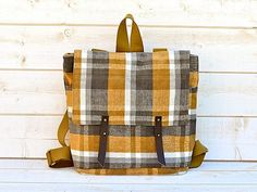 new 2012 AMY Backpack in MUSTARD plaid