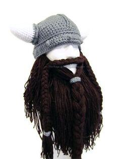 Bearded Viking Helmet Hat Men's Costume Viking by CraftyRidge