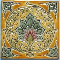 A fabulous majolica art nouveau floral pattern that completely fills the tile in super colors from Mintons China Works. The design clearly shows Victorian elements and the transition to art nouveau. It is...
