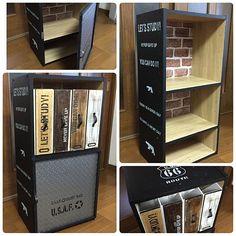 My Shelf,カラーボックスリメイク,ファイルボックス,黒板塗料,chikoさんの真似っこ♡,男前風,セリア,DIY,ステンシル yopipiの部屋