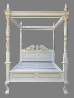 Chic but not shabby queen anne four poster canopy bed in a stunning French white with anitque detailing. Handmade mahogany furniture with a special price tag! Poster Beds, Four Poster Bed, Mahogany Furniture, White Queen, Queen Anne, Canopy, Bedroom Ideas, Modern Design, Bedding