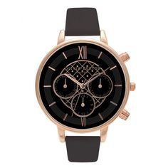 Olivia Burton Big Dial Chrono Detail Black and Rose Gold OB15CG44