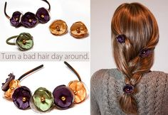 Versatile Mini Clip Hair Flowers {tutorial} - these are Gorgeous! Add them to a hairband, headband, or use as hairpins! Handmade Flowers, Diy Flowers, Beaded Flowers, Flowers In Hair, Fabric Flowers, Organza Flowers, Diy Hairstyles, Pretty Hairstyles, Updo Hairstyle
