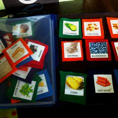 Kids Grocery List Folder. Each one of my girls has their own.  Here's what I did: Folder with felt glued on one side, then stuck 9 pieces of Velcro. Printed off various foods, cut them out, glued down on colored felt by food group (fruits, veggies, grains, protein, dairy). Cut out and then girls made their lists:). The folder has a clear pocket on one side to store the food choices.  Made July 5, 2012. SLB