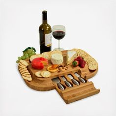 Picnic at Ascot Bamboo Cutting Board for Cheese & Charcuterie with Knife Set & Cheese Markers- Designed & Quality Checked in the USA Home Garden Kitchen Dining Kitchen Tools Utensils Boards Wooden Cheese Board, Cheese Board Set, Cheese Cutting Board, Deco Table, A Table, Picnic At Ascot, Charcuterie Board, Bamboo Cutting Board, Bamboo Board