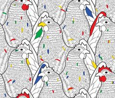 WALL PAPER : Pop_Art_Chickens fabric by aalk on Spoonflower - custom fabric Cool Patterns, Textures Patterns, Fabric Patterns, Print Patterns, Pattern Designs, Surface Design, Chicken Illustration, Conversational Prints, Textiles