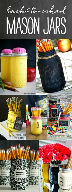 Back-To-School Mason Jars - Teacher Gift Ideas - Back-to-School Crafts - Teacher Craft Ideas @Mason Jar Crafts Love