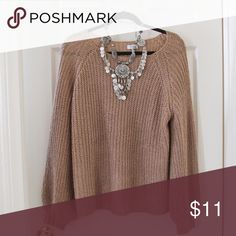 Tobi Knit Bell Sleeve Sweater Tan knit sweater with poet sleeves/bell sleeves.  Like new condition Tobi Sweaters Crew & Scoop Necks