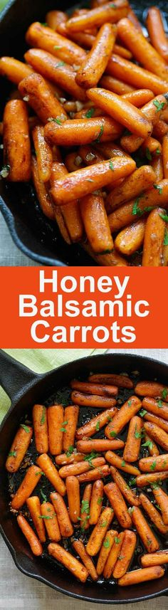 Honey Balsamic Carrots - oven-roasted carrots with honey balsamic glaze. The easiest and best balsamic carrots recipe ever Carrot Recipes, Vegetable Recipes, Vegetarian Recipes, Cooking Recipes, Healthy Recipes, Salad Recipes, Ovo Vegetarian, Delicious Recipes, Balsamic Carrots