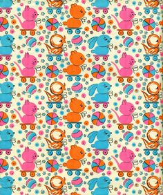 Vintage Easter Wrapping Paper Gift Wrap Little Chicks and Rabbits. $3.00, via Etsy.