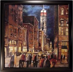 A moving piece of framed artwork, great for contrasting a room with bold colors or eclectic and modern patterns | New York Night Framed Artwork cort.com