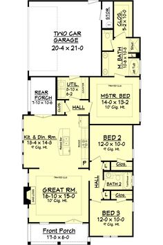 Cottage Style House Plan - 3 Beds 2 Baths 1450 Sq/Ft Plan #430-114 Floor Plan - Main Floor Plan - Houseplans.com