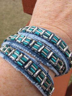 Items similar to Bracelet - Triple Wrap Hand Beaded Denim - Recycled Jeans - Teal Green and Silver - Upcycled on Etsy Diy Old Jeans, Jeans Denim, Recycle Jeans, Diy Denim Bracelets, Jewelry Bracelets, Denim Crafts, Jean Crafts, Bracelet Wrap, Niece Gifts