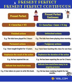 Present Perfect vs Present Perfect Continuous! Learn the difference between the Present Perfect and Present Perfect Continuous Tense in English with examples an Grammar Chart, English Grammar Tenses, Teaching English Grammar, English Grammar Worksheets, English Verbs, English Phrases, English Language Learning, Grammar Practice, Grammar And Vocabulary