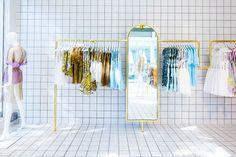 custom designed hanging rack + mirror   Alice McCall Chapel St   WONDER