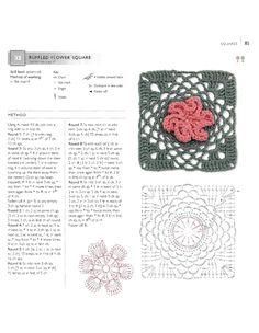 ru / Фото - 75 Floral Blocks to Crochet - nezabud-ka Crochet Motif Patterns, Crochet Blocks, Afghan Patterns, Square Patterns, Crochet Chart, Crochet Squares, Crochet Granny, Granny Squares, Crochet Ruffle