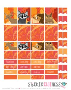 Free Printable Autumn has Arrived Planner Stickers from StickerCuteness #scrapbookprintables