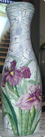Itens de decoração Decoupage Vaso cracelures número 2 Garrafas de vidro pintar guardanapos foto 1