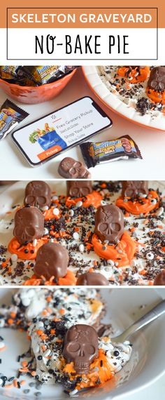 Make a fun Skeleton Graveyard No-Bake Pie that is also gluten-free too! It can be made with BUTTERFINGERS® Peanut Butter Cup Skulls! Halloween Baking, Halloween Food For Party, Halloween Treats, Holloween Desserts, Spooky Treats, Happy Halloween, Fall Recipes, Holiday Recipes, Snack Recipes