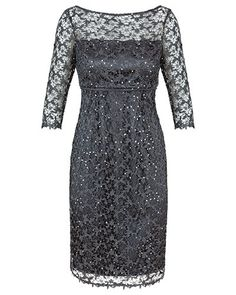 Onyx sequin lace dress with empire waist band – $599 Althea Crawford
