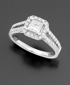 Engagement Ring, Princess-Cut Diamond (1-1/3 ct. t.w.) and 14k White Gold - Wedding & Engagement Rings - Macy's $4,799.00