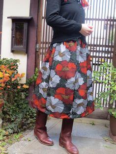 着物リメイク☆レトロモダンな花柄ウールdeふんわりスカート♪ - 西垣洋子                                                                                                                                                                                 もっと見る