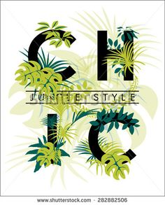 Tropical print with slogan in bright green colors for fashion and other uses,in vector: compre este vector en Shutterstock y encuentre otras imágenes. Night Suit For Women, Ladies Night, Bright Green, Green Colors, Flower Alphabet, Shirts For Girls, Girl Shirts, Baby Cartoon, Tropical Flowers