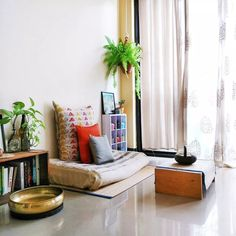 """""""Jayati and Manali share their home tour as the science home décor - A study room decorated with book shelf, green plants, frames and vintages Indian Bedroom Decor, Ethnic Home Decor, Indian Home Decor, Asian Decor, Indian Living Rooms, My Living Room, Living Room Decor, Living Area, Apartment Therapy"""