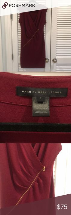 MARC by Marc Jacobs burgundy sweater dress MARC by Marc Jacobs burgundy sweater dress wih gold zipper accent  Size L Marc By Marc Jacobs Dresses