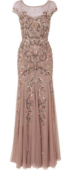 Beaded blush gown, I wish I had somewhere to wear this! <3