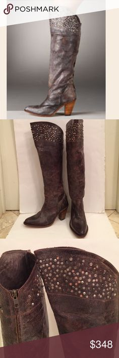"""Frye boots Frye Demi Studded Cuff boots in a distressed brownish color with brass, copper & nickel-colored studs, measuring 18"""" from the top up the back, with the heel being 3.25"""" of the 18"""", and the front measuring 2"""" higher. These came from another posher who wore them 2 times & I have not worn them; they are absolutely amazing, just a little too small for me Frye Shoes Over the Knee Boots"""