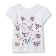 Boys Soft Long Sleeve Crew Neck Cotton Cat and Dog Basic Tee for Youth