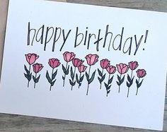 Hand entworfen Color Geburtstagskarte, Geburtstagskarte von Hand gezeichneten Bl… - Lo Que Necesitas Saber Para La Fiesta Creative Birthday Cards, Flower Birthday Cards, Happy Birthday Cards, Card Birthday, Drawn Birthday Cards, Birthday Doodle, Birthday Card Design, Blue Birthday, Handmade Birthday Cards